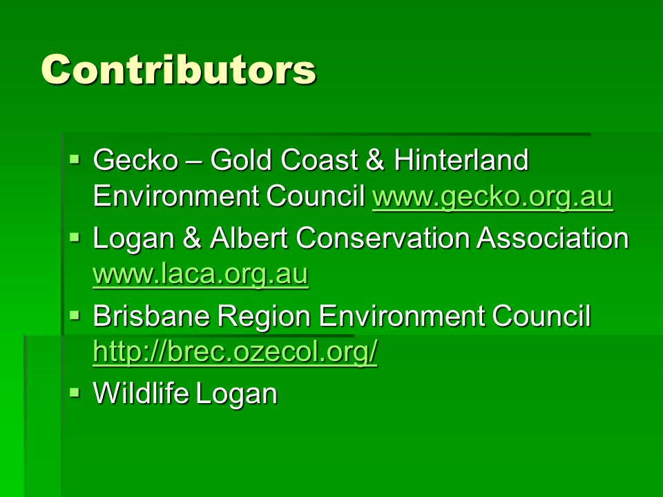 Contributors Gecko – Gold Coast & Hinterland Environment Council www.gecko.org.au Gecko – Gold Coast & Hinterland Environment Council www.gecko.org.au