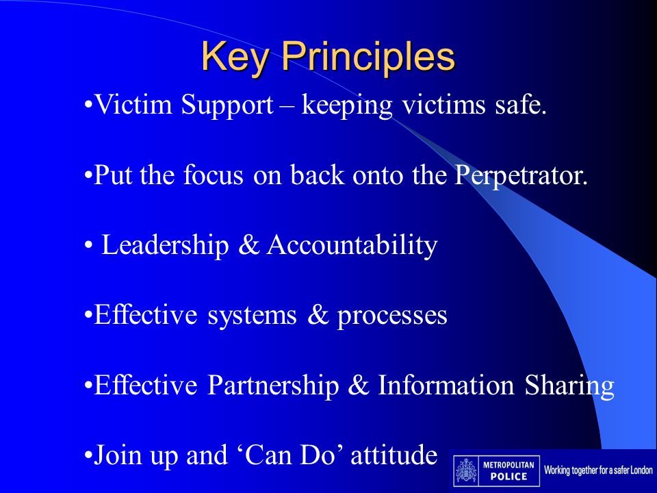 Key Principles Victim Support – keeping victims safe. Put the focus on back onto the Perpetrator. Leadership & Accountability Effective systems & proc