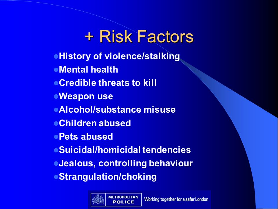 + Risk Factors History of violence/stalking Mental health Credible threats to kill Weapon use Alcohol/substance misuse Children abused Pets abused Sui