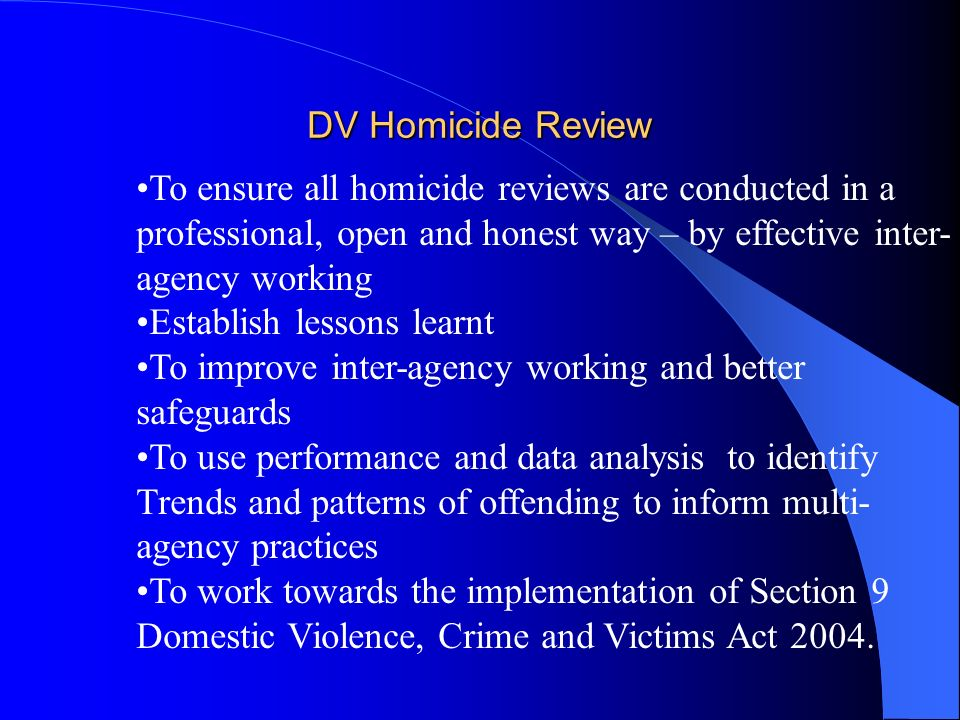 DV Homicide Review To ensure all homicide reviews are conducted in a professional, open and honest way – by effective inter- agency working Establish