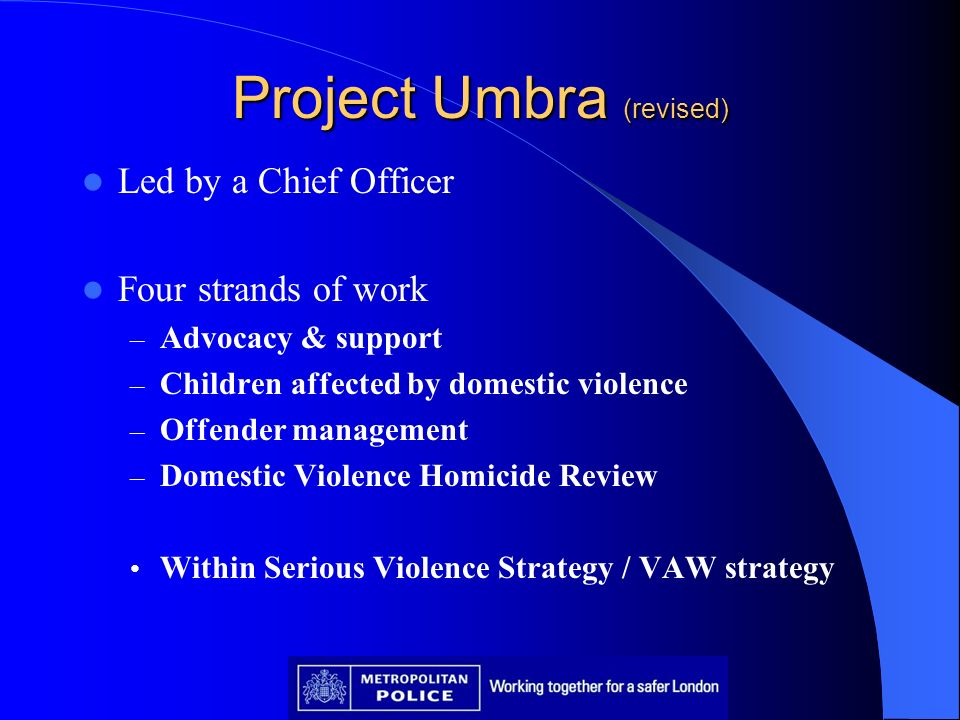 Project Umbra (revised) Led by a Chief Officer Four strands of work – Advocacy & support – Children affected by domestic violence – Offender managemen
