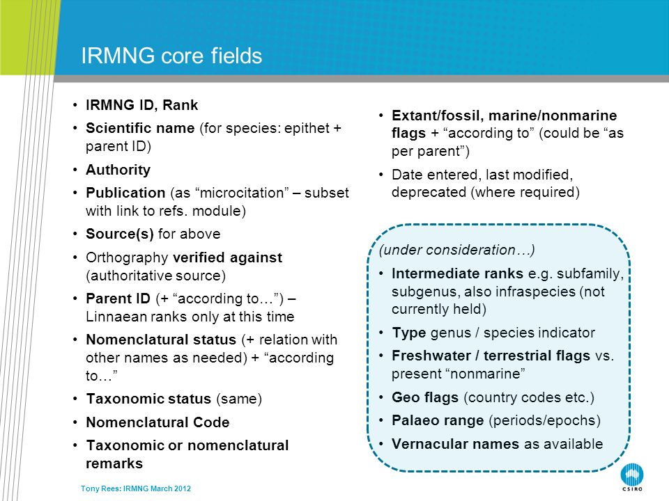 Tony Rees: IRMNG March 2012 IRMNG core fields IRMNG ID, Rank Scientific name (for species: epithet + parent ID) Authority Publication (as microcitatio