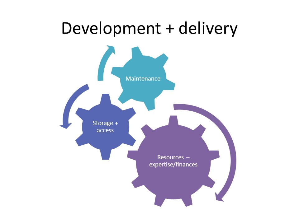 Development + delivery Resources – expertise/finances Storage + access Maintenance