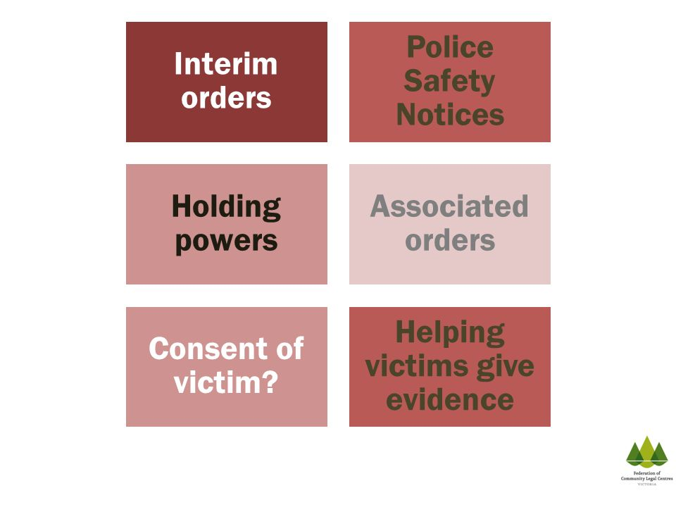 Interim orders Police Safety Notices Holding powers Associated orders Consent of victim? Helping victims give evidence