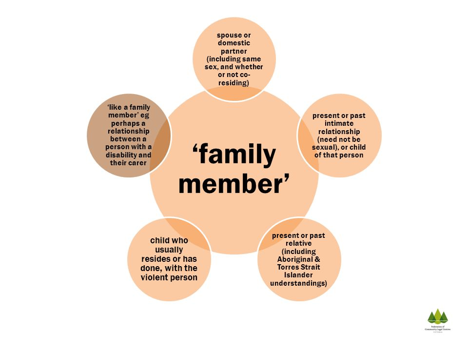 family member spouse or domestic partner (including same sex, and whether or not co- residing) present or past intimate relationship (need not be sexu