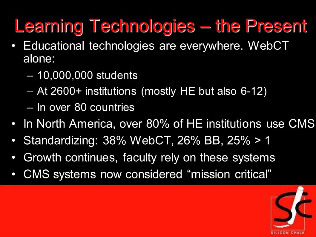 Learning Technologies – the Present Educational technologies are everywhere.