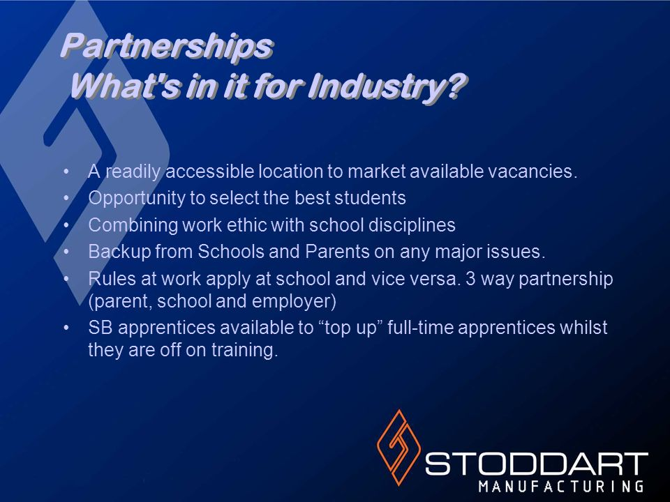 Partnerships What's in it for Industry? A readily accessible location to market available vacancies. Opportunity to select the best students Combining