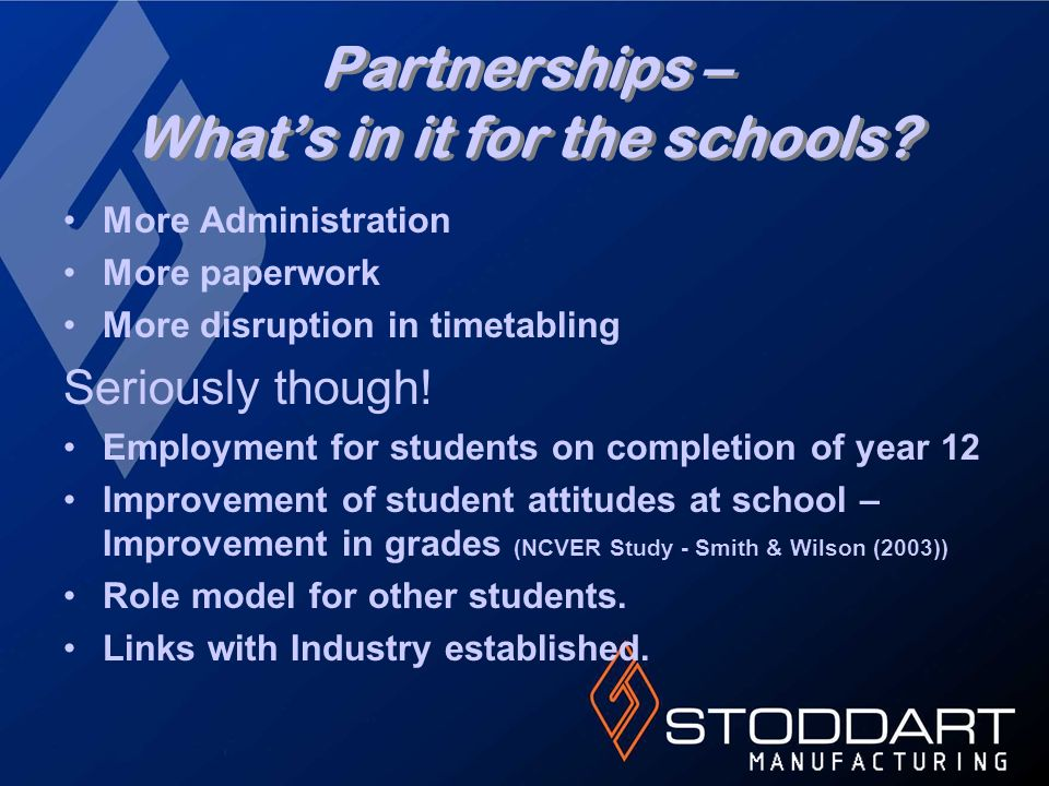 Partnerships – Whats in it for the schools? More Administration More paperwork More disruption in timetabling Seriously though! Employment for student