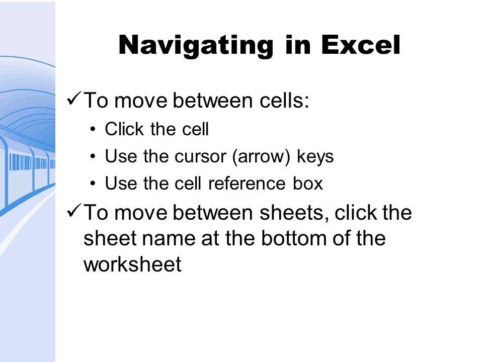 Selecting Cells Click a single cell to select it Click a row number to select a row Click a column letter to select a column Click a cell and drag to select a range of cells, rows, or columns Hold down Ctrl and click to select noncontiguous cells, rows, or columns
