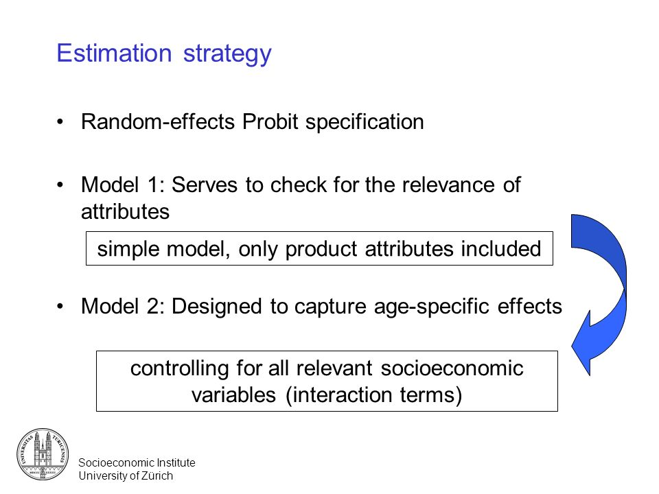 Socioeconomic Institute University of Zürich Estimation strategy Random-effects Probit specification Model 1: Serves to check for the relevance of att