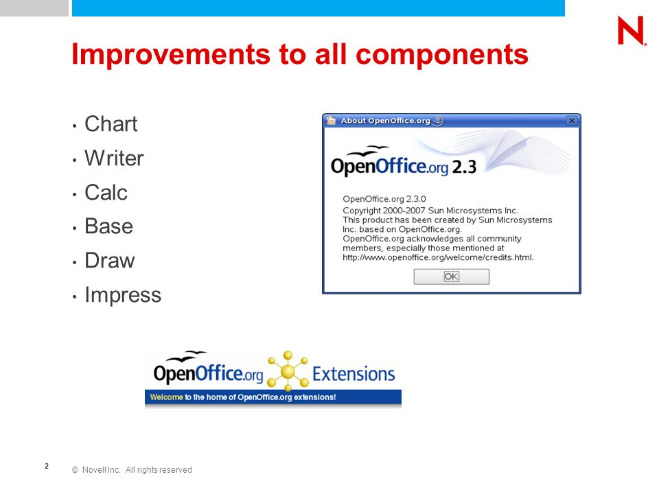 © Novell Inc. All rights reserved 2 Improvements to all components Chart Writer Calc Base Draw Impress