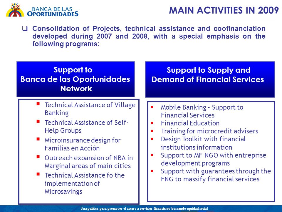 Una política para promover el acceso a servicios financieros buscando equidad social Consolidation of Projects, technical assistance and coofinanciation developed during 2007 and 2008, with a special emphasis on the following programs: MAIN ACTIVITIES IN 2009 Technical Assistance of Village Banking Technical Assistance of Self- Help Groups Microinsurance design for Familias en Acción Outreach exoansion of NBA in Marginal areas of main cities Technical Assistance fo the implementation of Microsavings Support to Banca de las Oportunidades Network Support to Supply and Demand of Financial Services Mobile Banking – Support to Financial Services Financial Education Training for microcredit advisers Design Toolkit with financial institutions information Support to MF NGO with entreprise development programs Support with guarantees through the FNG to massify financial services