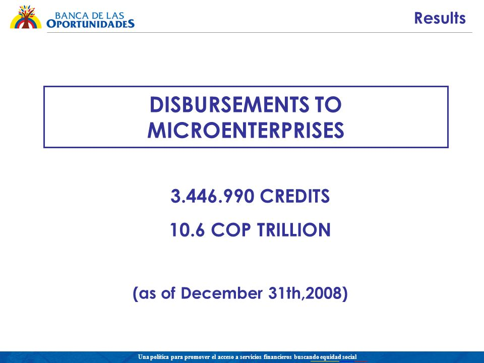Una política para promover el acceso a servicios financieros buscando equidad social DISBURSEMENTS TO MICROENTERPRISES CREDITS 10.6 COP TRILLION (as of December 31th,2008) Results