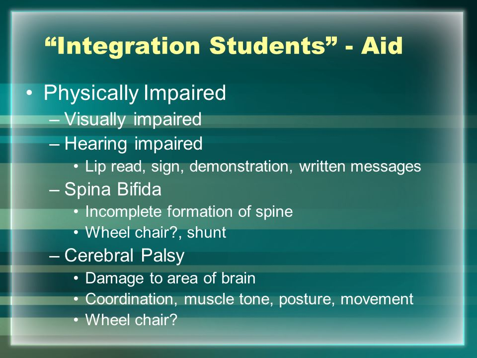 Integration Students - Aid Physically Impaired –Visually impaired –Hearing impaired Lip read, sign, demonstration, written messages –Spina Bifida Inco