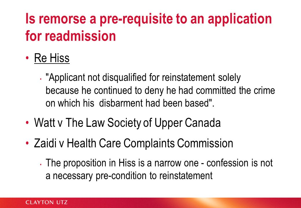 Application for re-admission Is the obligation to disclose factors relevant to