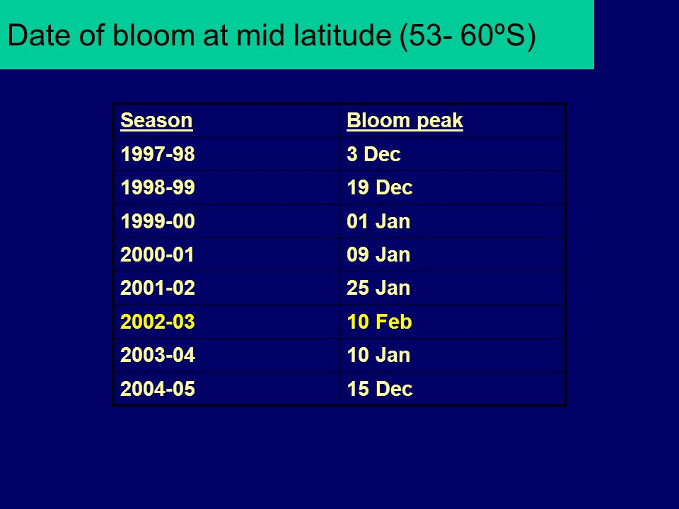 Date of bloom at mid latitude (53- 60ºS) SeasonBloom peak 1997-983 Dec 1998-9919 Dec 1999-0001 Jan 2000-0109 Jan 2001-0225 Jan 2002-0310 Feb 2003-0410 Jan 2004-0515 Dec
