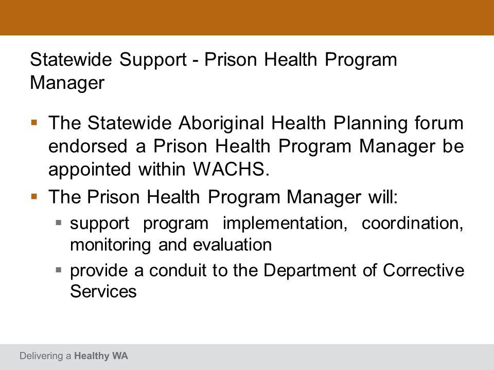 Statewide Support - Prison Health Program Manager The Statewide Aboriginal Health Planning forum endorsed a Prison Health Program Manager be appointed