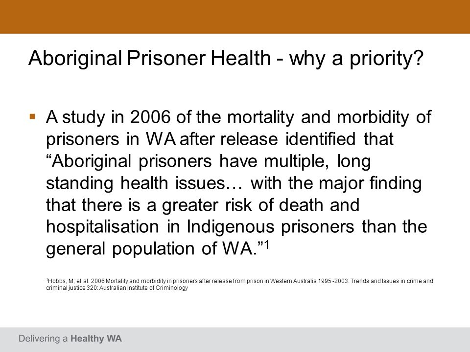 Recommended Service Model Through-care model providing coordination/case management, linking with community health services and some in-reach services, with a focus on chronic disease, alcohol and drugs and mental health Number of FTE based on the number of prisoners exiting the prison Service provider would be located near the custodial setting Partnership with the Department of Corrective Services
