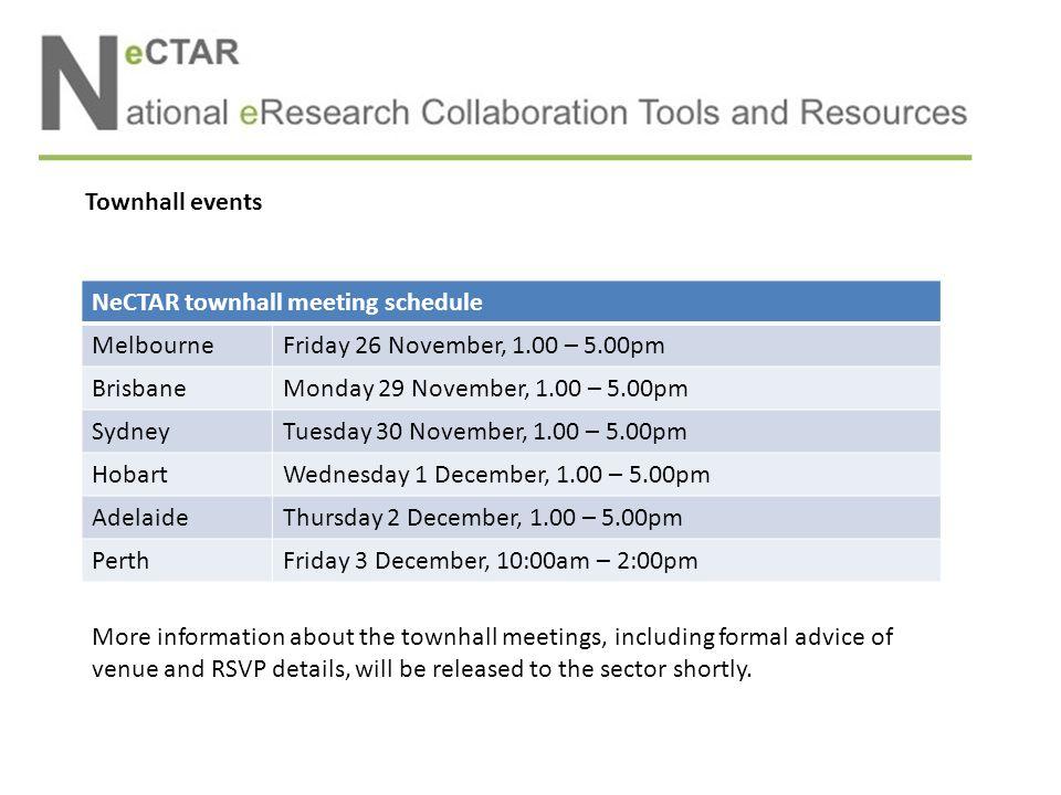 NeCTAR townhall meeting schedule MelbourneFriday 26 November, 1.00 – 5.00pm BrisbaneMonday 29 November, 1.00 – 5.00pm SydneyTuesday 30 November, 1.00