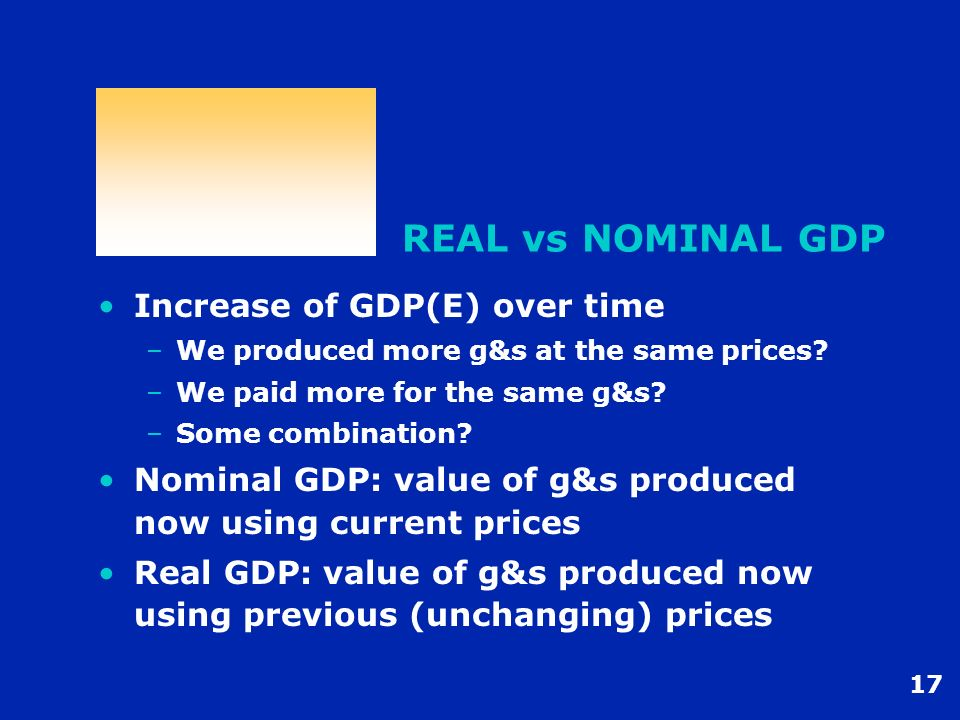 17 REAL vs NOMINAL GDP Increase of GDP(E) over time –We produced more g&s at the same prices? –We paid more for the same g&s? –Some combination? Nomin