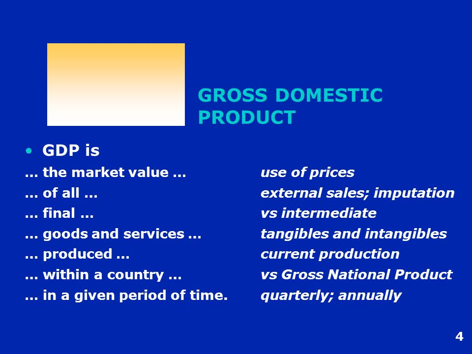 4 GROSS DOMESTIC PRODUCT GDP is … the market value …use of prices … of all …external sales; imputation … final …vs intermediate … goods and services …