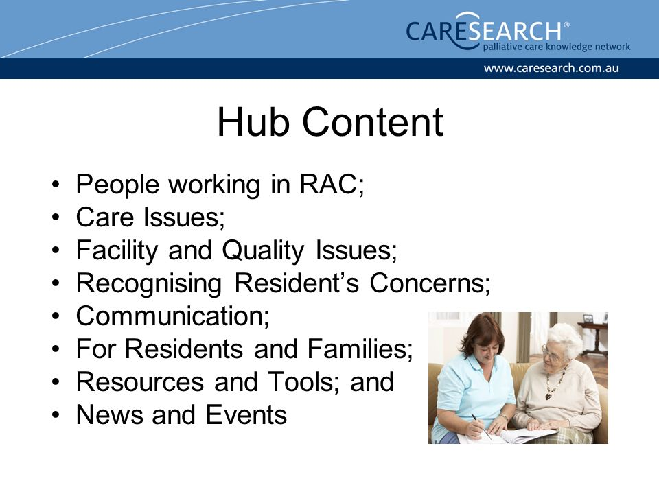 Hub Content People working in RAC; Care Issues; Facility and Quality Issues; Recognising Residents Concerns; Communication; For Residents and Families; Resources and Tools; and News and Events