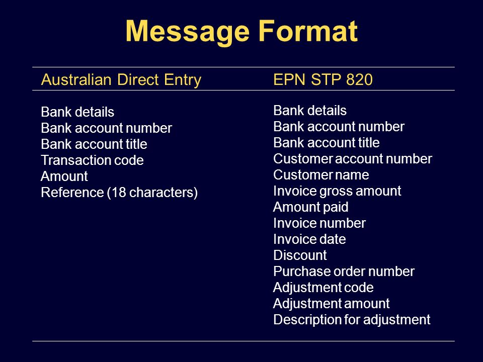 Bank details Bank account number Bank account title Transaction code Amount Reference (18 characters) Message Format Australian Direct EntryEPN STP 82