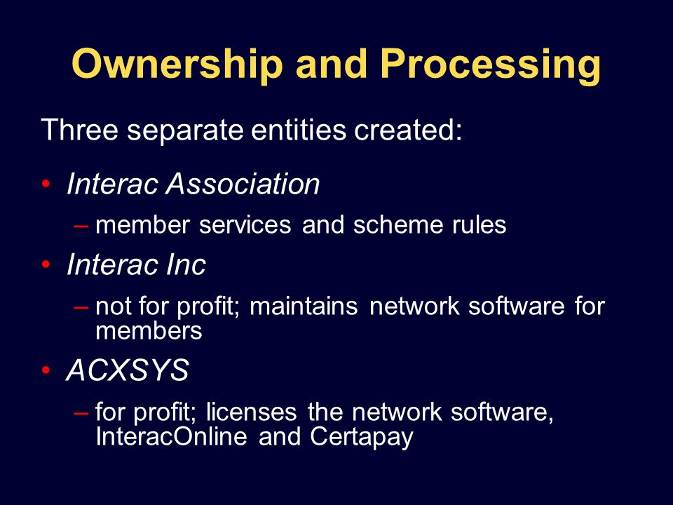 Ownership and Processing Three separate entities created: Interac Association –member services and scheme rules Interac Inc –not for profit; maintains network software for members ACXSYS –for profit; licenses the network software, InteracOnline and Certapay