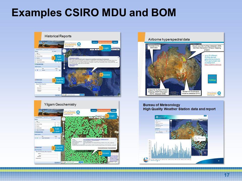Examples CSIRO MDU and BOM 17