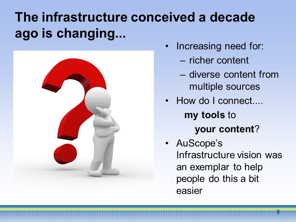The infrastructure conceived a decade ago is changing... Increasing need for: –richer content –diverse content from multiple sources How do I connect.