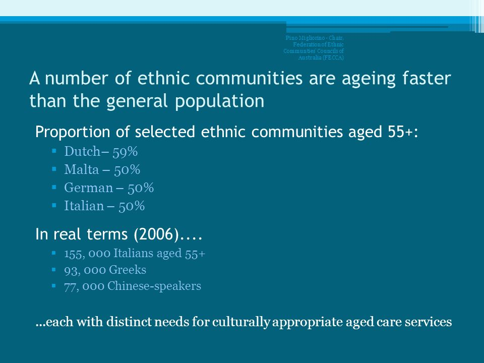 A number of ethnic communities are ageing faster than the general population Proportion of selected ethnic communities aged 55+: Dutch– 59% Malta – 50