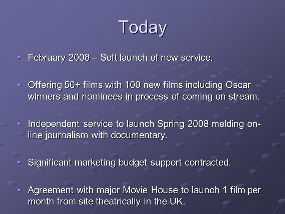 Today February 2008 – Soft launch of new service.February 2008 – Soft launch of new service.