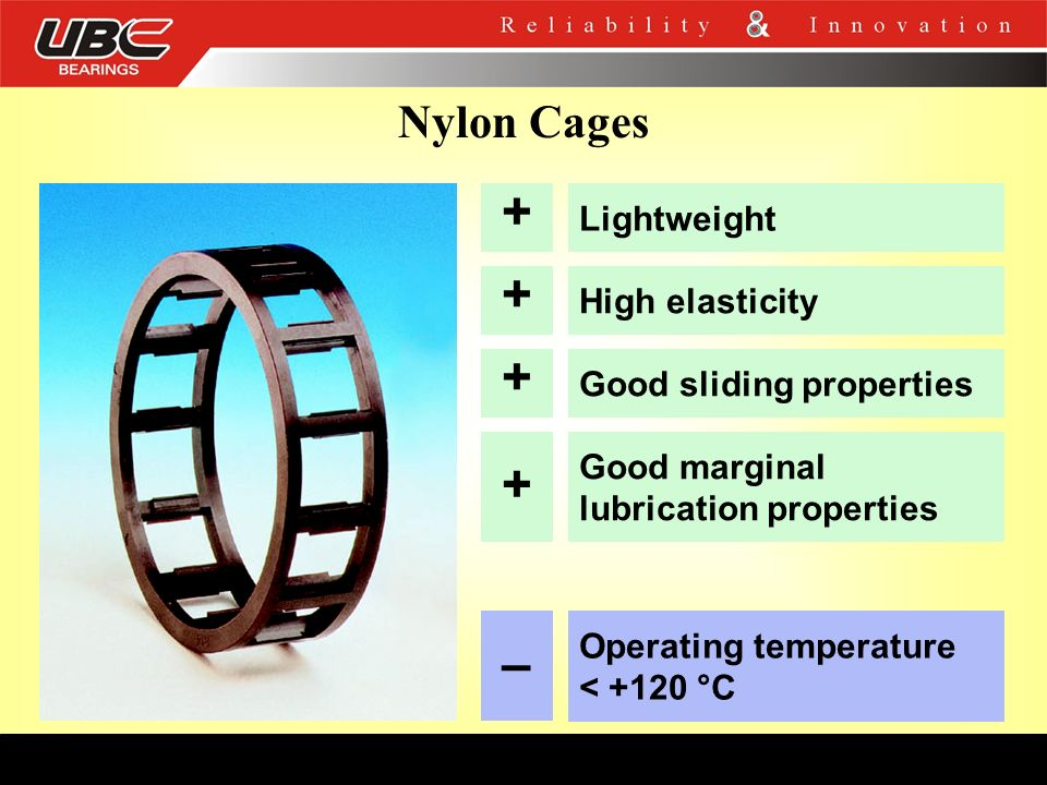 Nylon Cages + Lightweight + High elasticity + Good sliding properties + Good marginal lubrication properties – Operating temperature < +120 °C