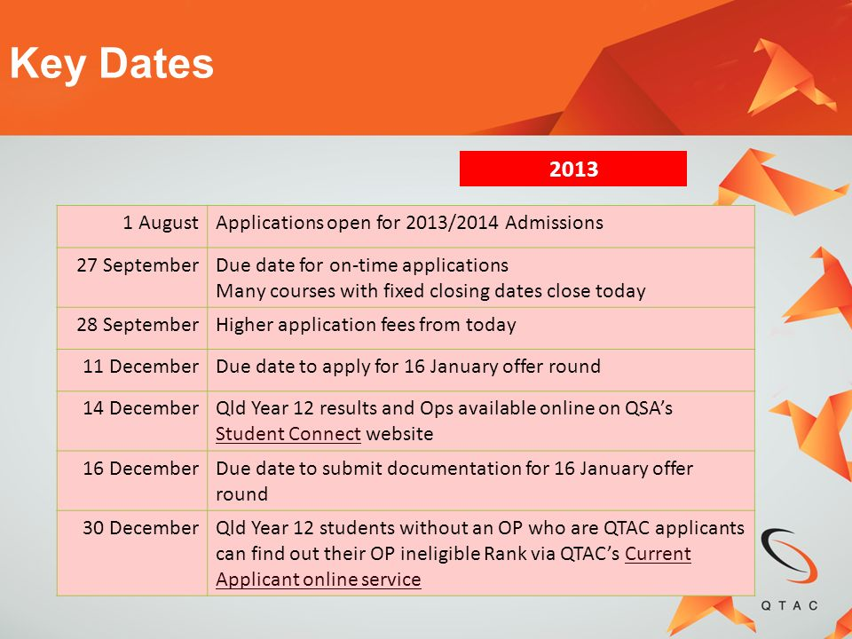 1 AugustApplications open for 2013/2014 Admissions 27 SeptemberDue date for on-time applications Many courses with fixed closing dates close today 28