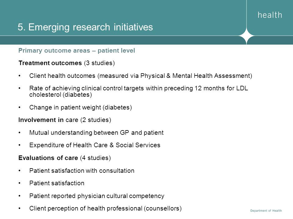 5. Emerging research initiatives Primary outcome areas – patient level Treatment outcomes (3 studies) Client health outcomes (measured via Physical &