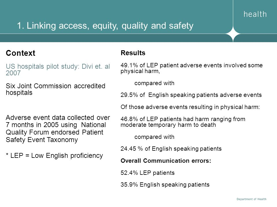 1. Linking access, equity, quality and safety Context US hospitals pilot study: Divi et. al 2007 Six Joint Commission accredited hospitals Adverse eve