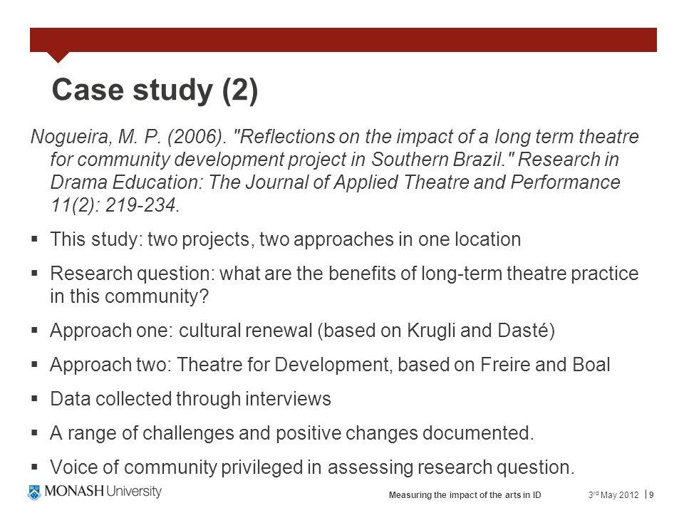 9 Case study (2) Nogueira, M. P. (2006).