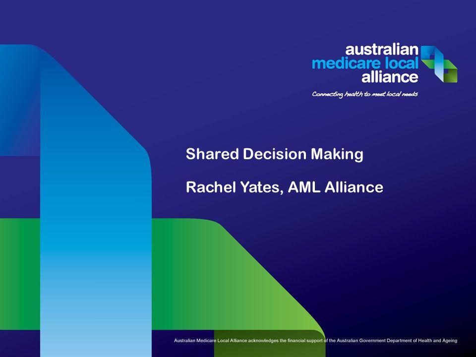 Shared Decision Making Rachel Yates, AML Alliance