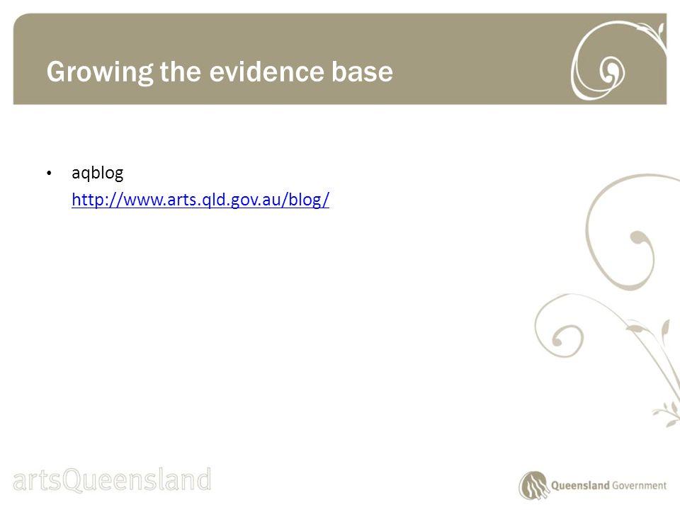 aqblog http://www.arts.qld.gov.au/blog/ Growing the evidence base