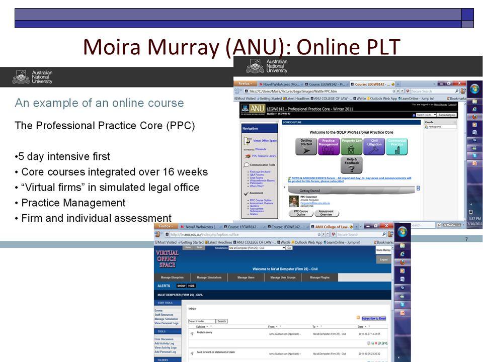 Moira Murray (ANU): Online PLT