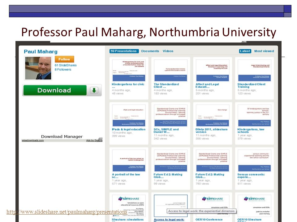 Professor Paul Maharg, Northumbria University http://www.slideshare.net/paulmaharg/presentations