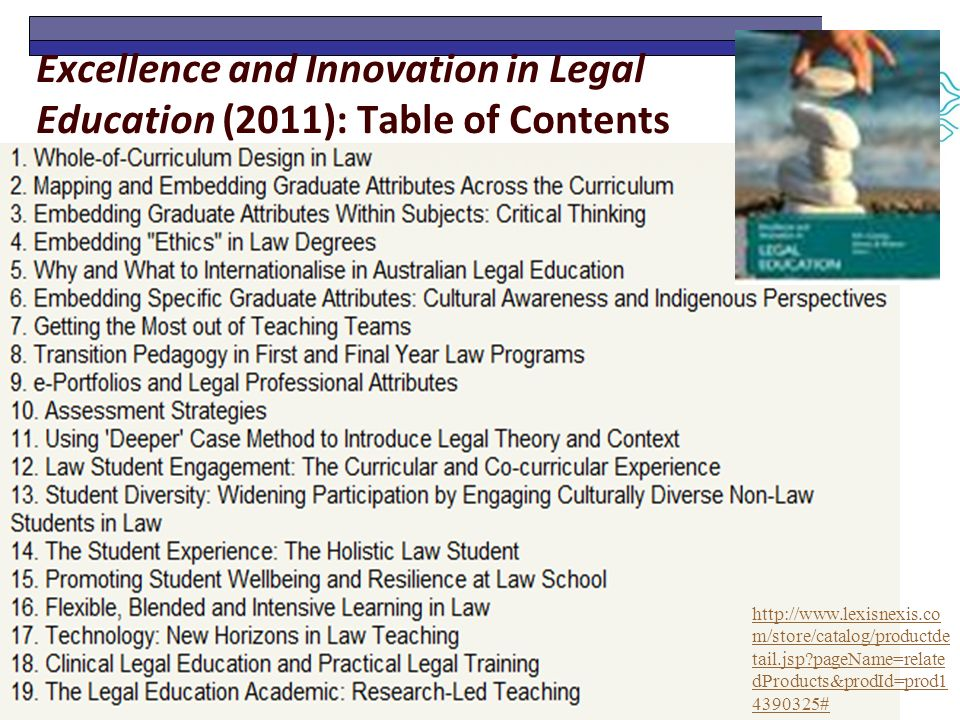 Excellence and Innovation in Legal Education (2011): Table of Contents http://www.lexisnexis.co m/store/catalog/productde tail.jsp pageName=relate dProducts&prodId=prod1 4390325#
