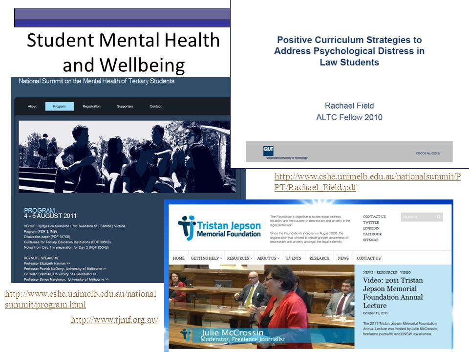 Student Mental Health and Wellbeing http://www.cshe.unimelb.edu.au/national summit/program.html http://www.cshe.unimelb.edu.au/nationalsummit/P PT/Rachael_Field.pdf http://www.tjmf.org.au/