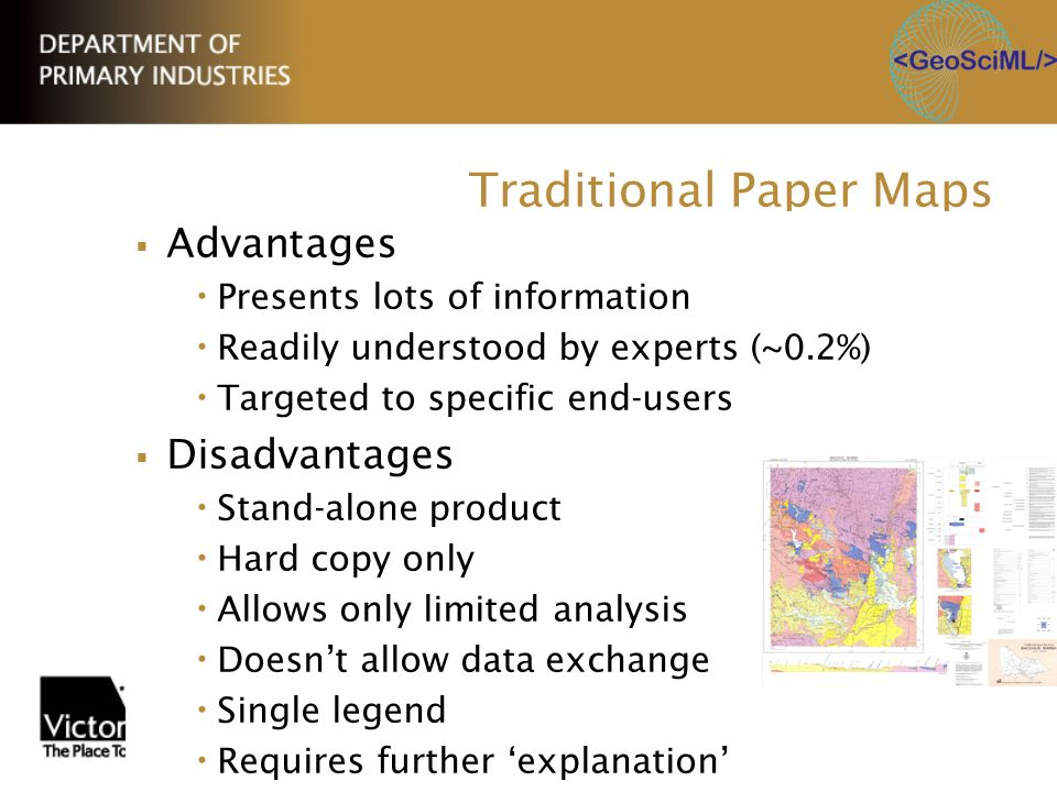 Traditional Paper Maps Advantages Presents lots of information Readily understood by experts (~0.2%) Targeted to specific end-users Disadvantages Stan