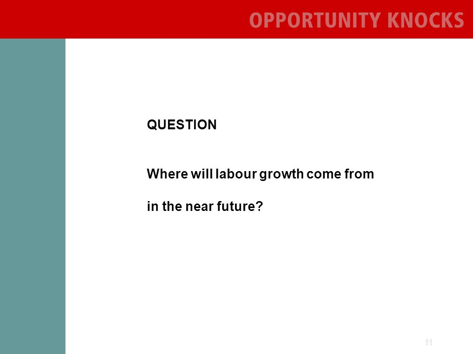 11 QUESTION Where will labour growth come from in the near future