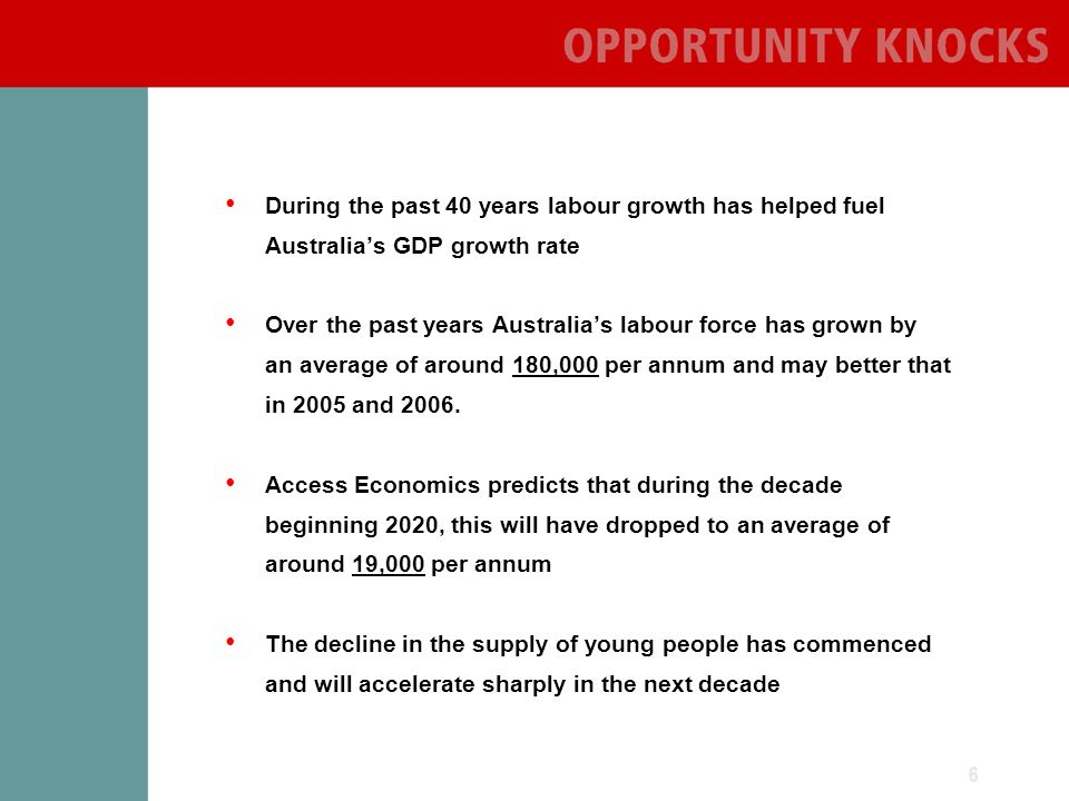 6 During the past 40 years labour growth has helped fuel Australias GDP growth rate Over the past years Australias labour force has grown by an average of around 180,000 per annum and may better that in 2005 and 2006.