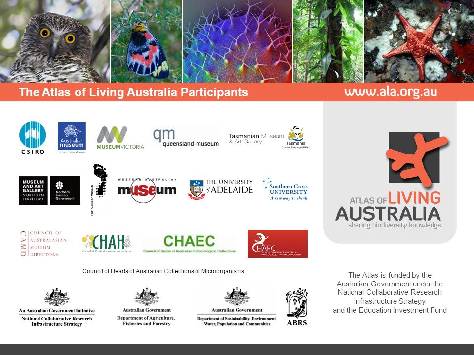 The Atlas of Living Australia Participants Council of Heads of Australian Collections of Microorganisms