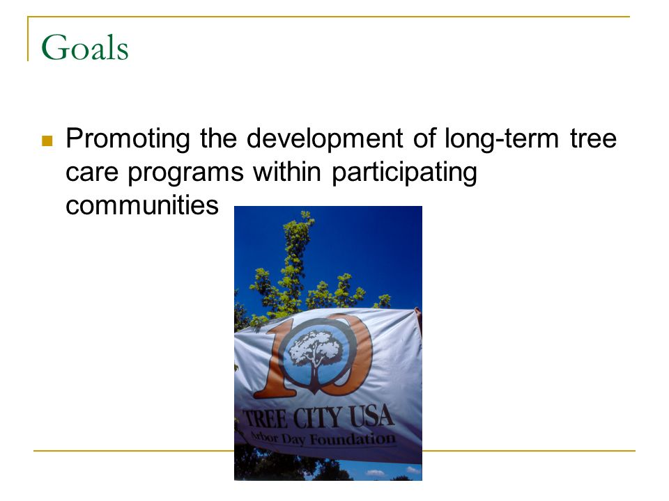 Goals Promoting the development of long-term tree care programs within participating communities