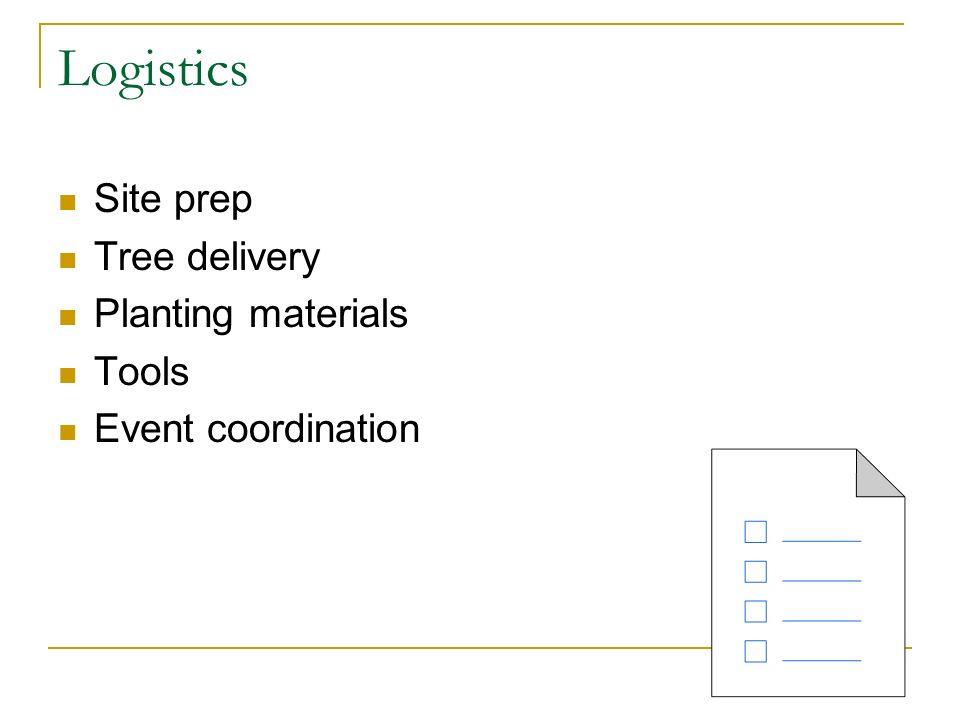 Logistics Site prep Tree delivery Planting materials Tools Event coordination