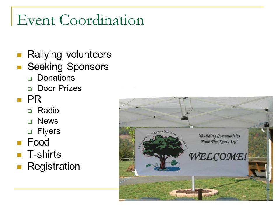 Event Coordination Rallying volunteers Seeking Sponsors Donations Door Prizes PR Radio News Flyers Food T-shirts Registration